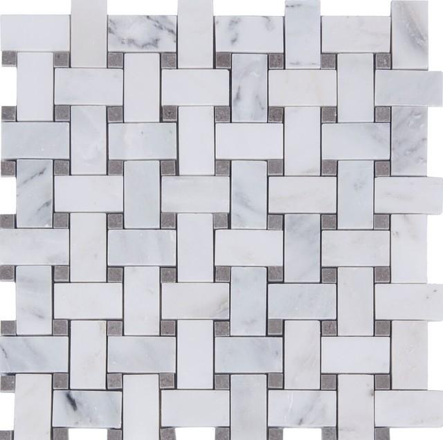 12 X12 Aspen White And Gray Marble Basketweave Tile Single Sheet