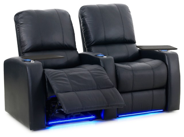 Holte 2-Seat Leather Recliner, Black, Power.