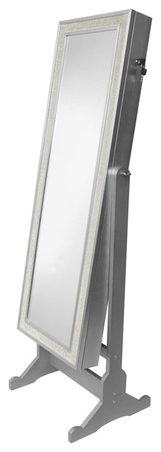 Glitzy Crystal Bordered Jewelry Armoire Cheval Mirror