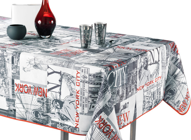 New York City Black White Red Tablecloth Eclectic