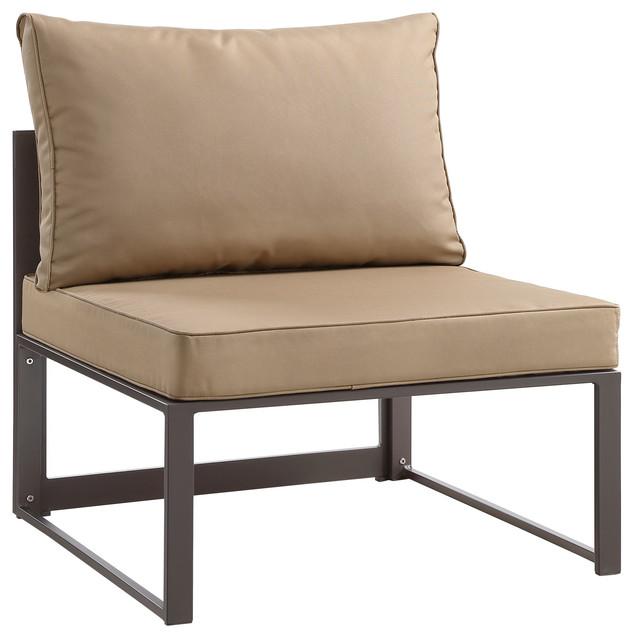 modern urban outdoor patio armless chair brown fabric steel