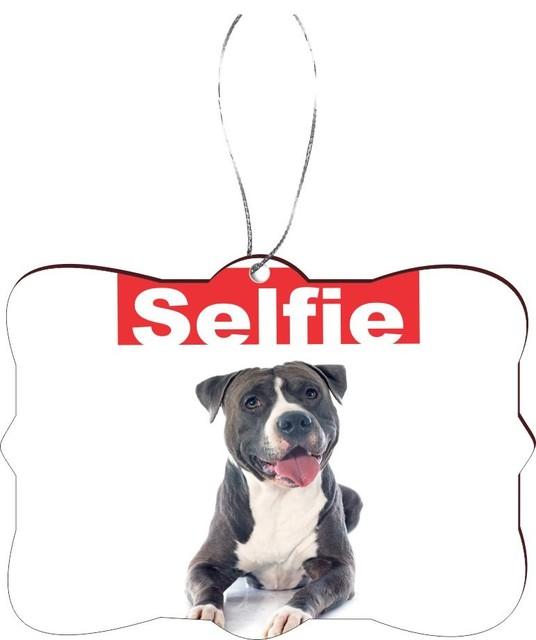 selfie black pitbull dog rectangle design christmas tree ornament