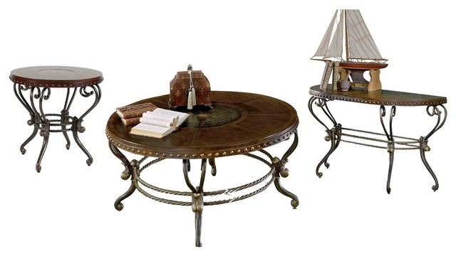 3 Piece Jafar Occasional Round Cocktail 1 Round End Sofa Table Warm Brown