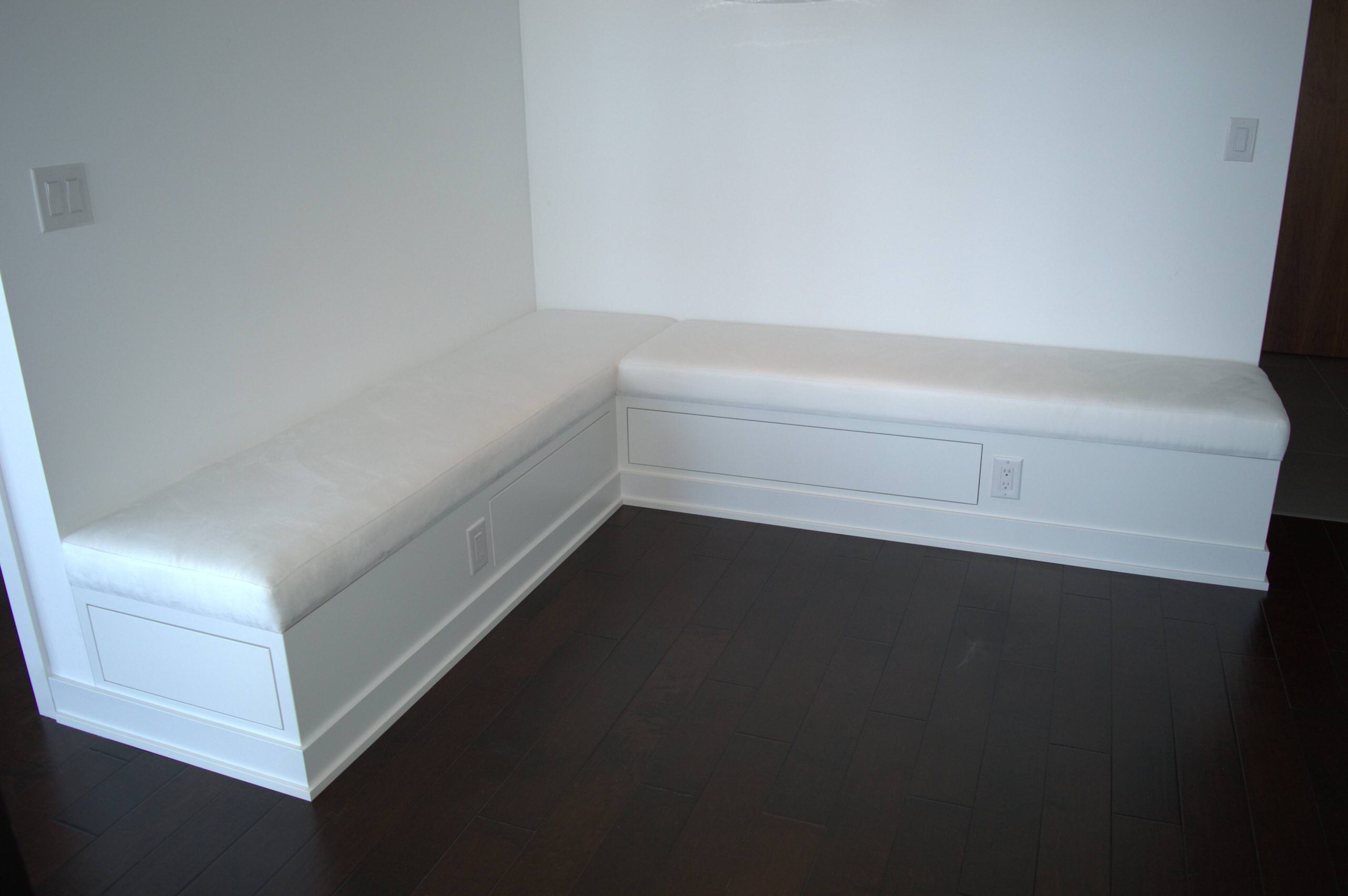 Custom L- Shaped Built-in Banquette with Storage