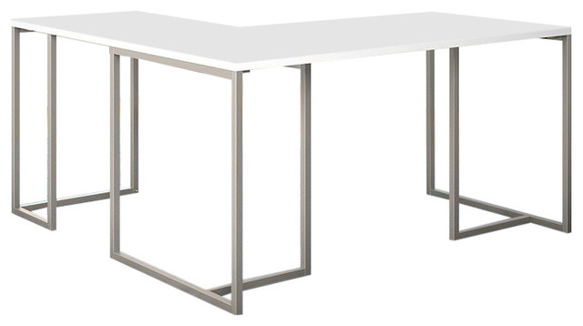 Mathias L-Shaped Desk, White.