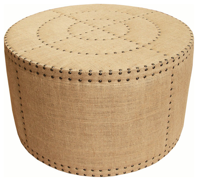 Astonishing Adalene French Country Burlap Rustic Round Coffee Table Ottoman Alphanode Cool Chair Designs And Ideas Alphanodeonline