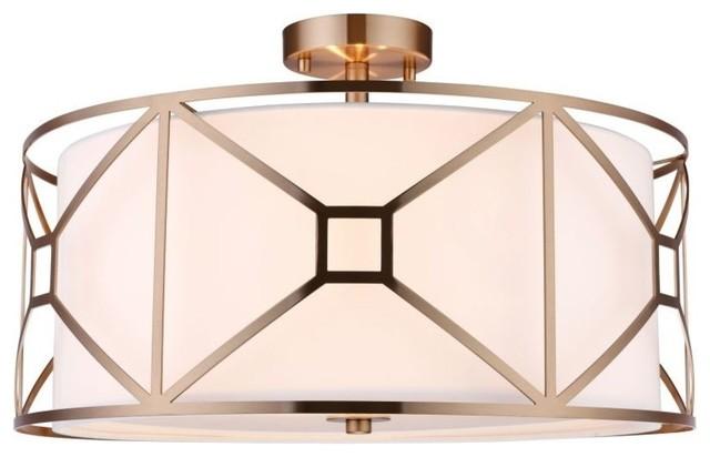 Woodbridge Lighting 17135-S120a1 Regan Semi-Flush Ceiling Fixture, Vintage Brass.