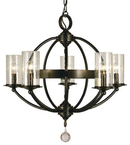 "Framburg 1075 Compass 5 Light 25"" Pillar Candle Chandelier, Mahogany Bronze"