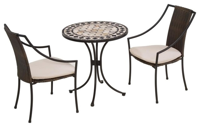 Superior Jase 3 Piece Bistro Set, Black And Tan Tropical Outdoor Pub