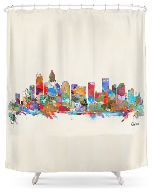 society6 charlotte north carolina skyline shower curtain