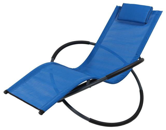 Fine Sunnydaze Orbital Folding Zero Gravity Rocking Lounger Pillow Blue Single Ocoug Best Dining Table And Chair Ideas Images Ocougorg