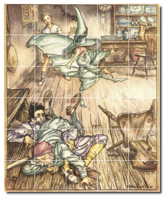 Arthur rackham illustration painting ceramic tile mural for Ceramic mural painting