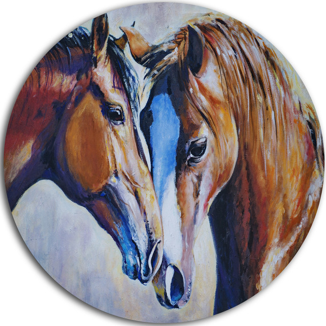 Brown Amorous Horses, Animal Painting Round Metal Wall Art ...