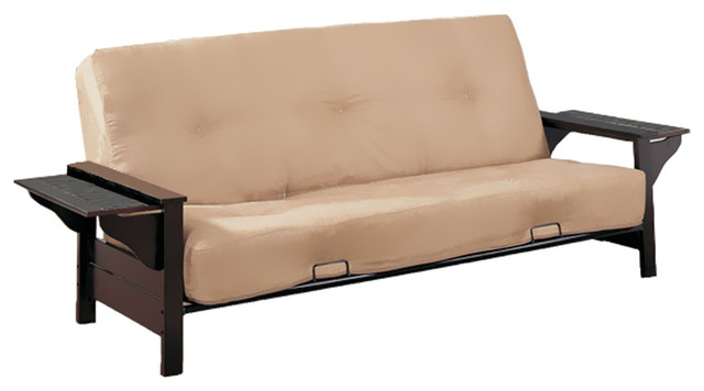 melbourne woodmetal futon frame with extendable tray full size dark brown contemporary