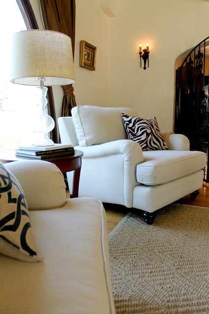 Marvelous English Roll Arm Chair With Zebra Pillow Traditional