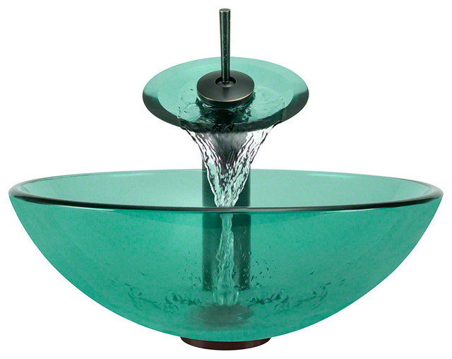 Contemporary Oil Rubbed Bronze Bathroom Vessel Vanity Sink: Polaris Sinks P106-E-WF Emerald Bathroom Tempered Glass