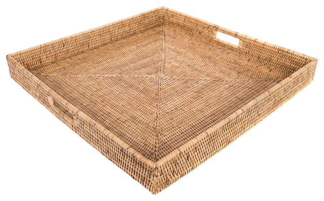 Groovy Artifacts Rattan Square Ottoman Tray Honey Brown 20X20 Uwap Interior Chair Design Uwaporg