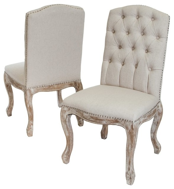 Best Selling Home Decor Tufted Fabric Weathered Wood Dining Chairs Set Of 2