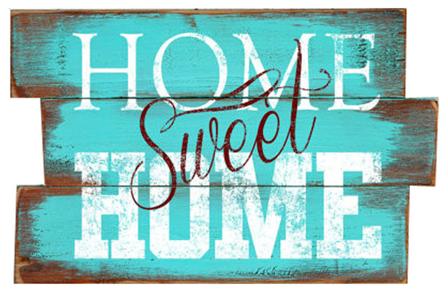 Home Sweet Home Wood Plank Sign Contemporary Novelty Signs