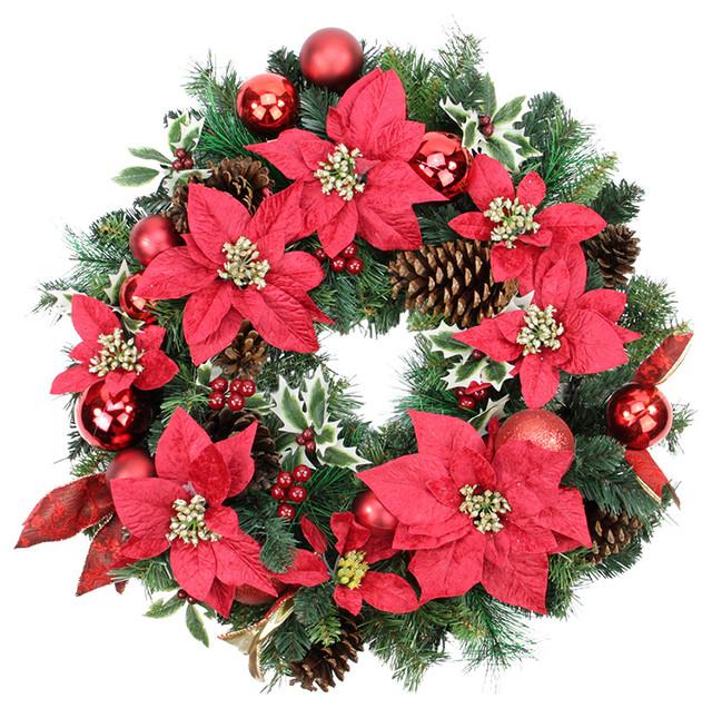 "24"" Unlit Decorated Wreath, Red Poinsettias, 93 Tips."