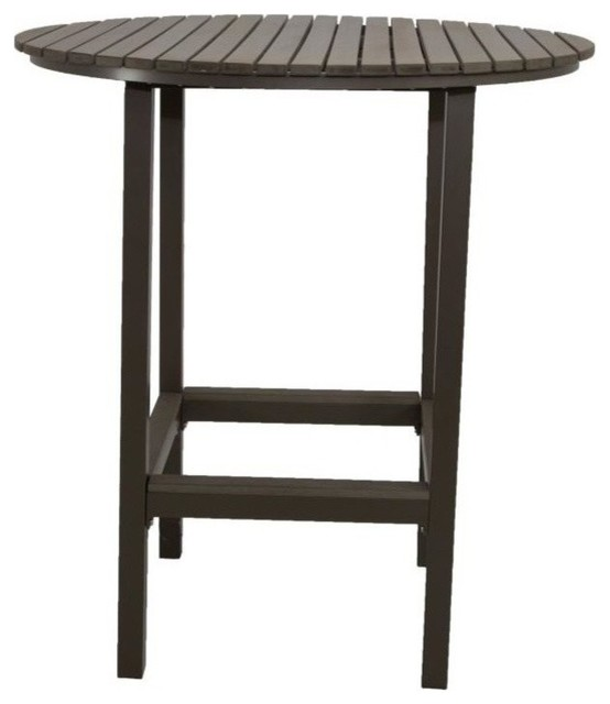 Patio Heaven Riviera Faux Wood Bar Table Round Outdoor