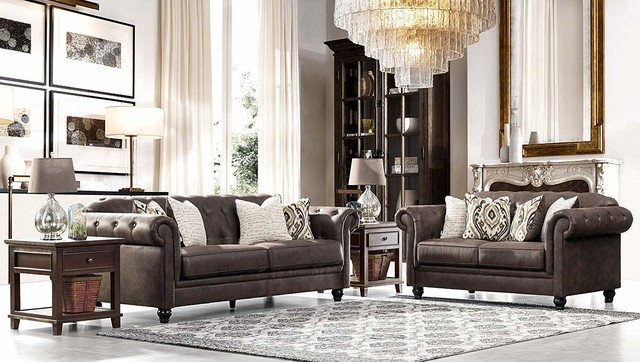 Acanva Chesterfield Leathaire Leather Living Room Sofa Set, Walnut Brown