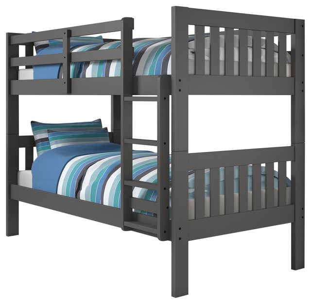 Mission Bunkbed Twin Twin Dark Gray Contemporary Bunk Beds