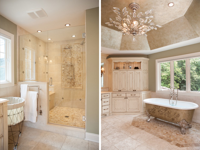showering in a clawfoot tub. Frameless Glass Shower Doors and Clawfoot Tub traditional  Traditional