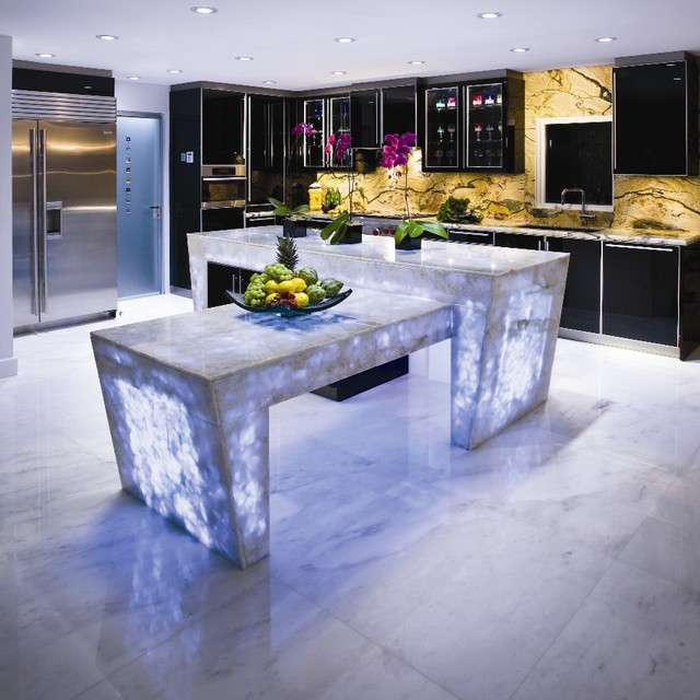 White Quartz Countertop Semi Preciousmodern Miami