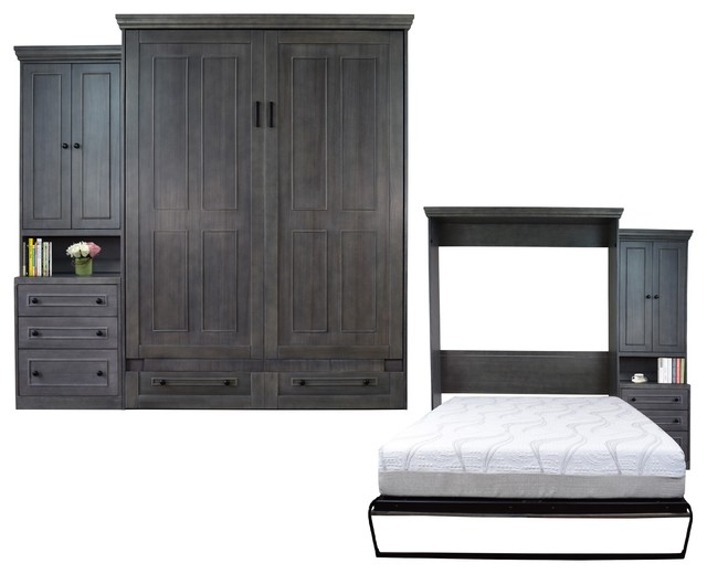 Tuvalu Murphy Bed, Gray, Queen.