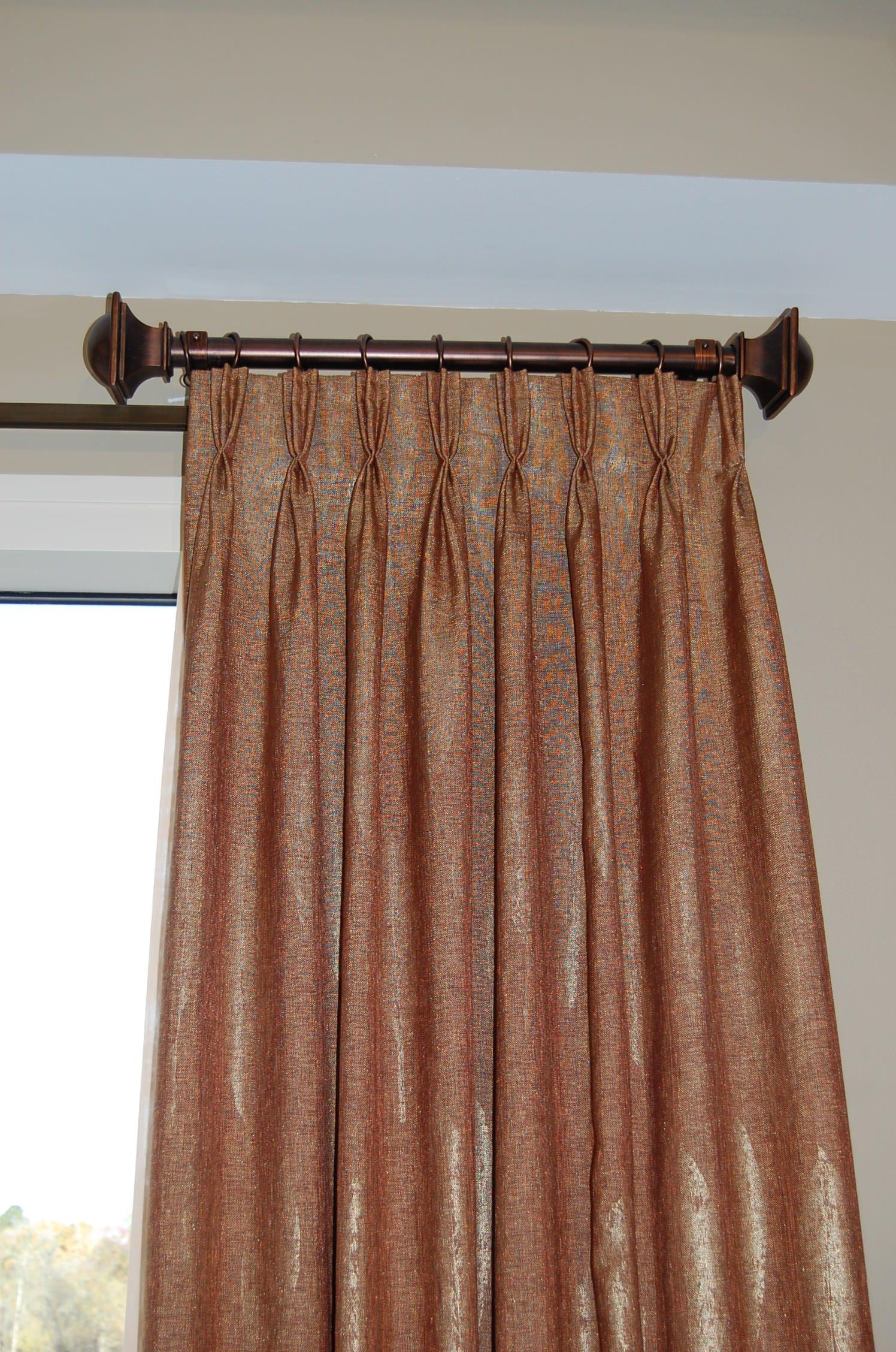 Contemporary hardware- linen and metallic draperies