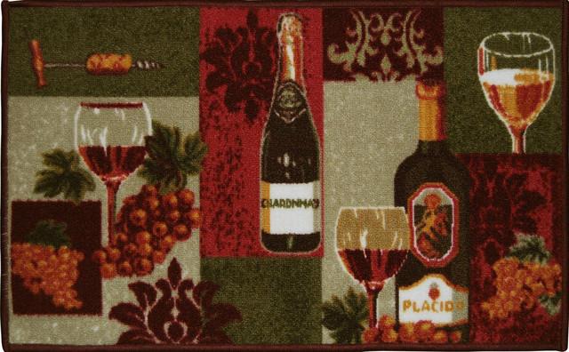 Living Clics Chardonnay Wine Bottles Kitchen Rug Non Skid Back