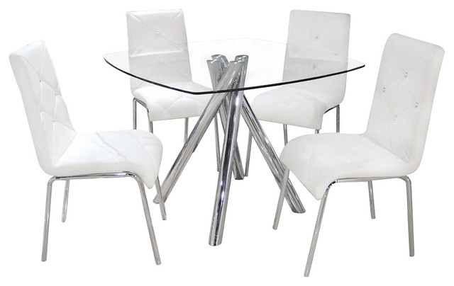Charmant Contemporary 5 Piece Dinette Set With Faux Leather Chairs, White