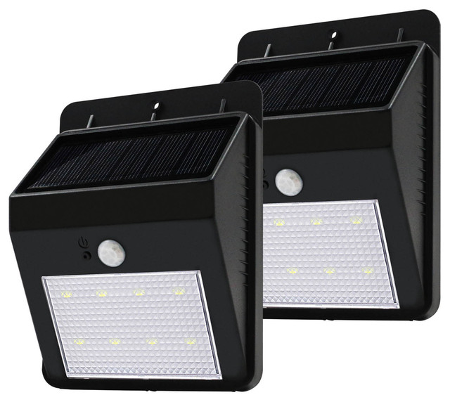 Contemporary Solar Wall Lights : 2-Piece LED Solar Power Outdoor Wall Light - Contemporary - Outdoor Wall Lights And Sconces - by ...