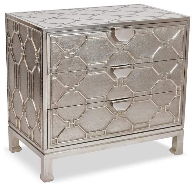 Jodie Hollywood Regency German Silver 3 Drawer Dresser.