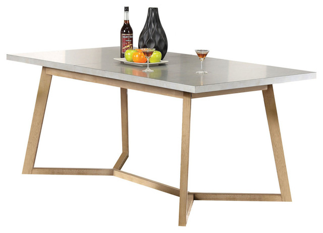 Alaska Modern Extendable Dining Table, Light Gray And Beige.