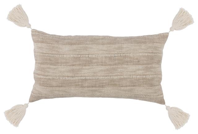 """Kosas Home Moab 100% Cotton 14""""x26"""" Embroidered Throw Pillow, Tan"""