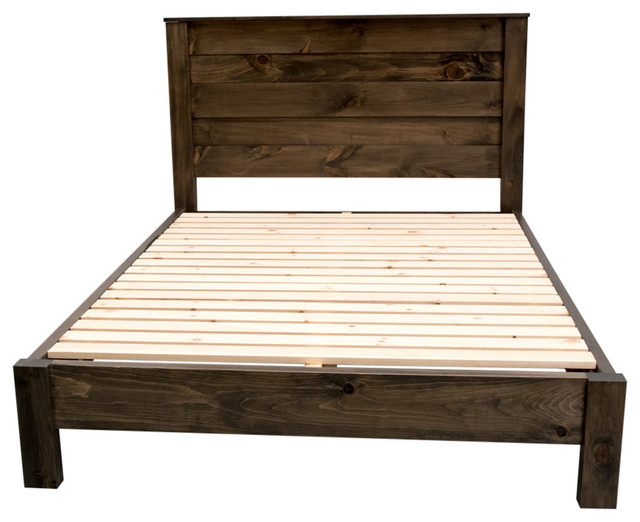 Rustic Farmhouse Platform Bed With Headboard, King.