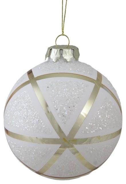 Christmas Ball Ornaments.4 Gilded Christmas Geometric Glass Christmas Ball Ornament Gold