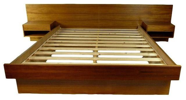 Danish teak queen size platform bed for Danish teak bedroom furniture