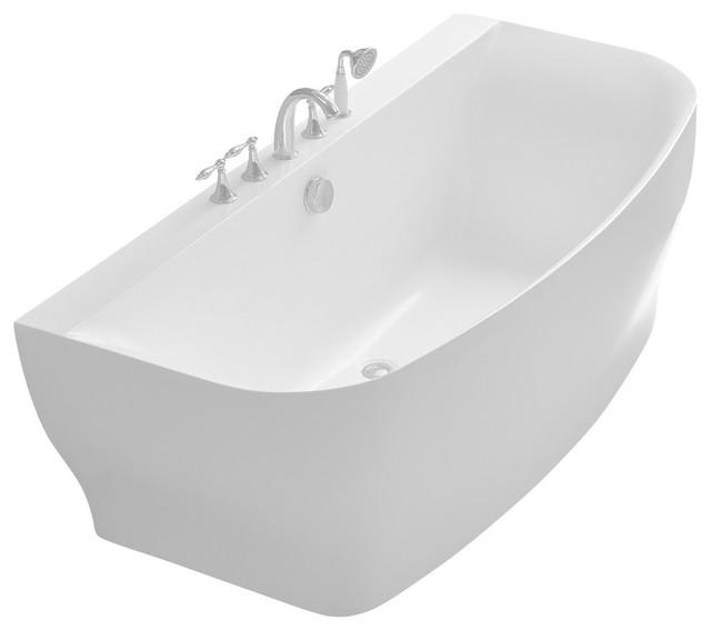 bank series 5.41' freestanding bathtub, white - contemporary