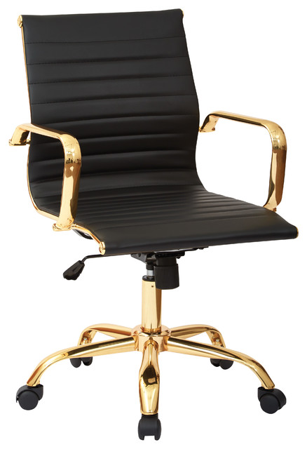 Worksmart Faux Leaether Seat, Built In Lumbar Support, Gold Base, Black