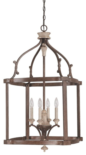 Capital Lighting 9473fo French Oak Chateau 4 Light Foyer Pendant.