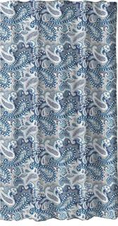 Marine Blue Taupe Beige White Decorative Fabric Shower Curtain Paisley Design Modern Shower