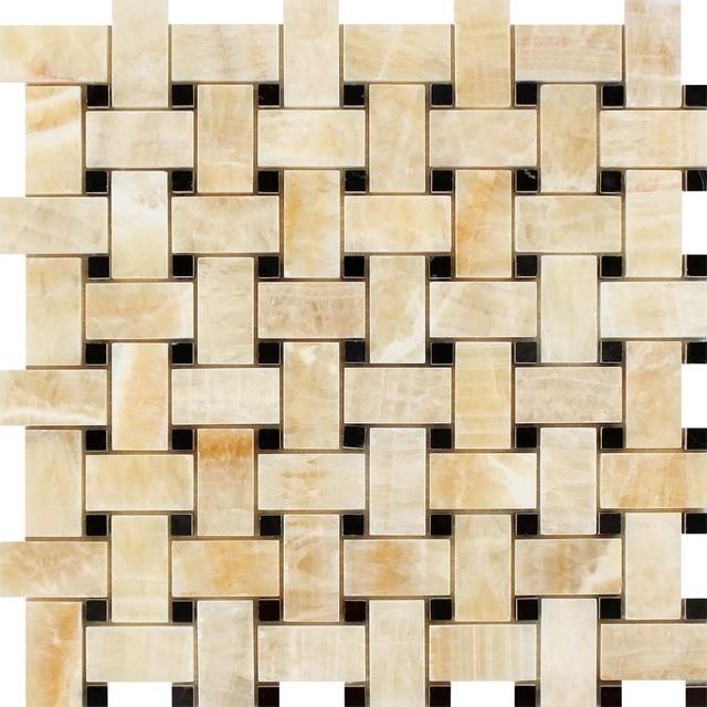 Honey Onyx Basketweave Mosaic With Black Dots, Polished Mosaic Tiles, 10 Sqft