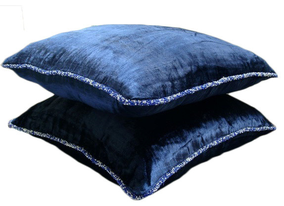 Solid Color 18x18 Velvet Navy Blue Throw Pillows Cover For Couch, Navy Shimmer.