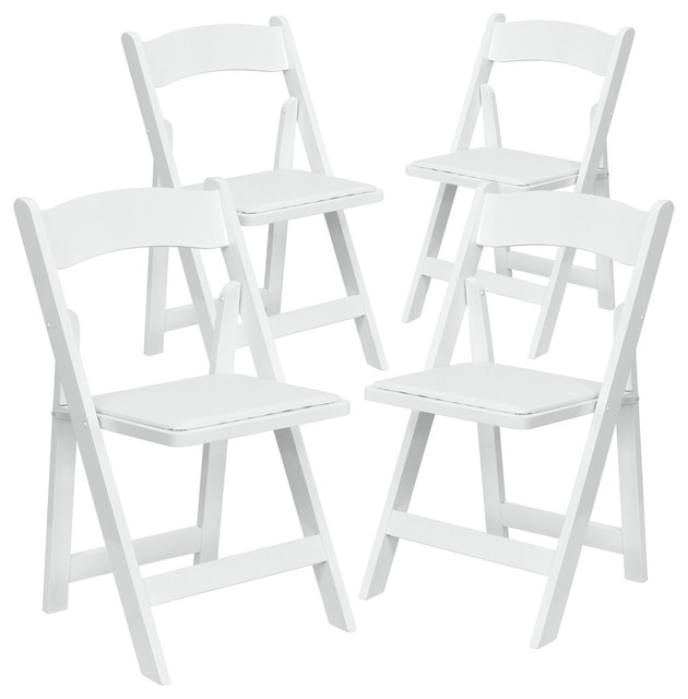 Awesome Hercules Series White Wood Folding Chairs With Vinyl Padded Seat Set Of 4 Gmtry Best Dining Table And Chair Ideas Images Gmtryco