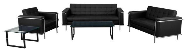 Flash Furniture Hercules Lesley Series Reception Set Black Living Room Furniture Sets By