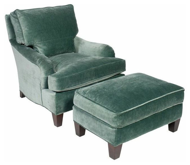 Sold Out Teal Velvet English Club Chair And Ottoman