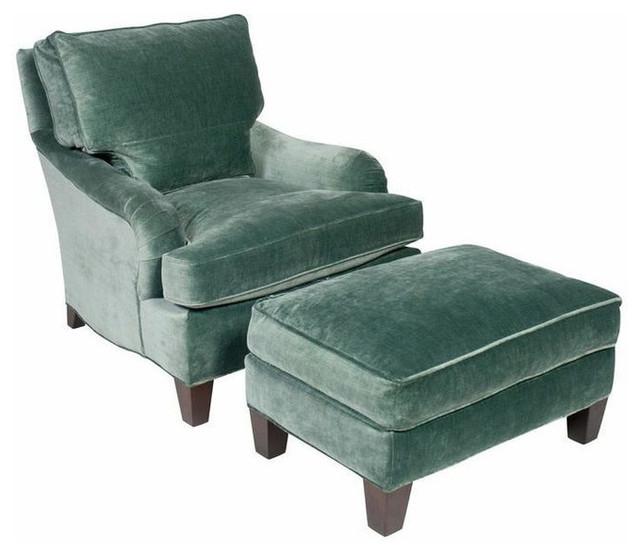 Velvet Chair And Ottoman Interior Design Ideas